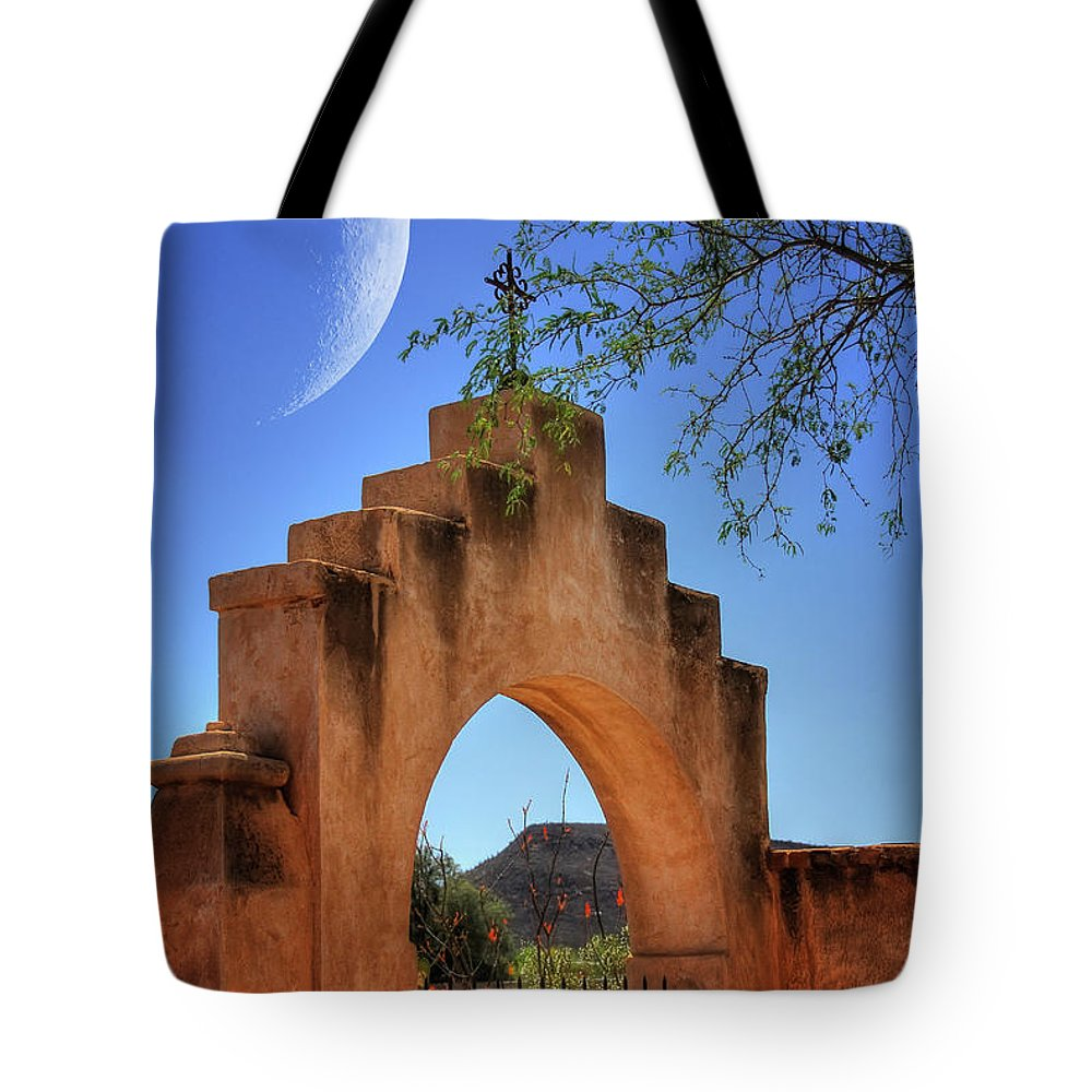 Mission San Xavier Del Bac Tote Bag featuring the photograph Mission San Xavier Del Bac by Lois Bryan