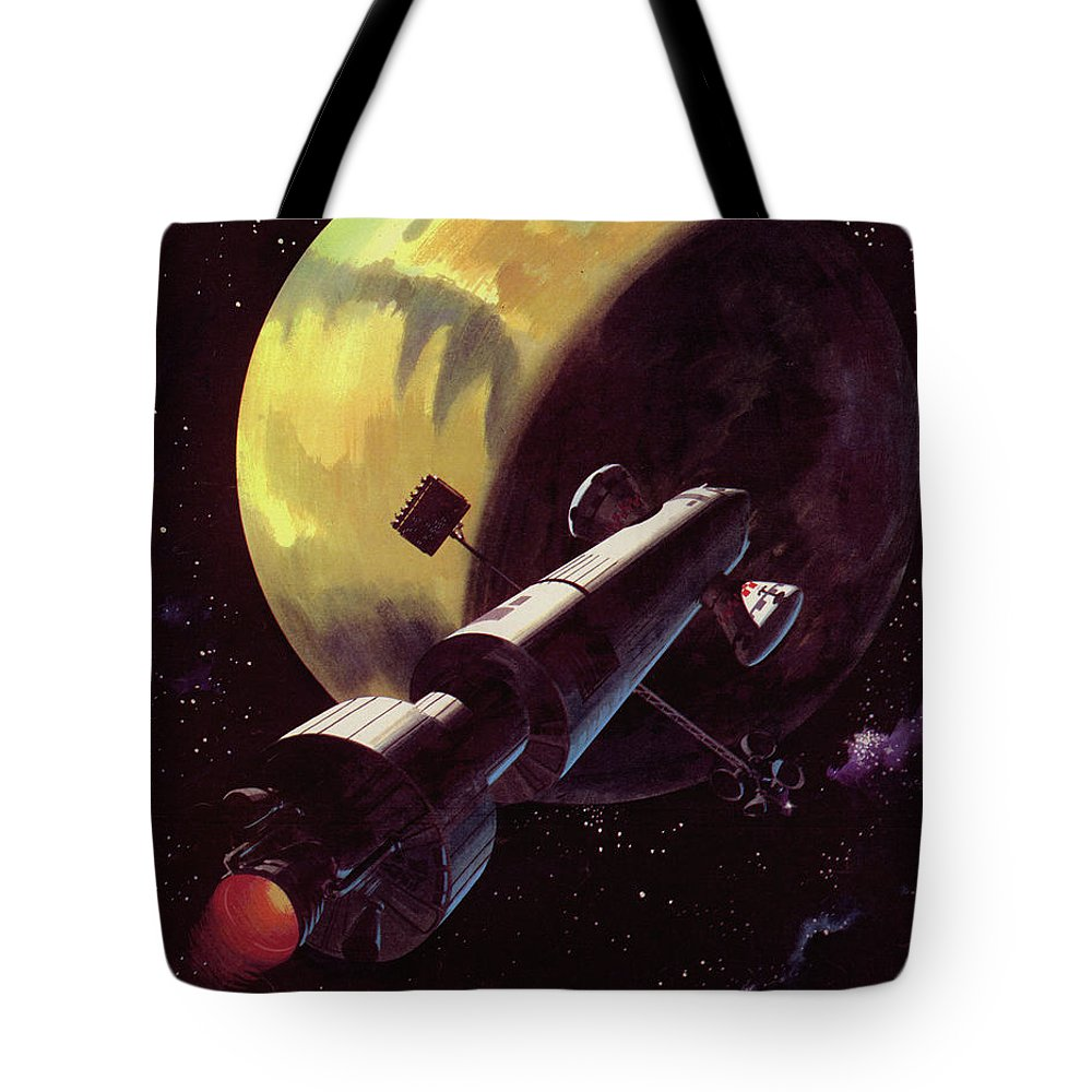 Mission; Space; Planet; Travel; Rocket; Spaceship; Space Ship; Red Planet; Mars; Universe; Exploration; Discovery Tote Bag featuring the painting Mission To Mars by Wilf Hardy