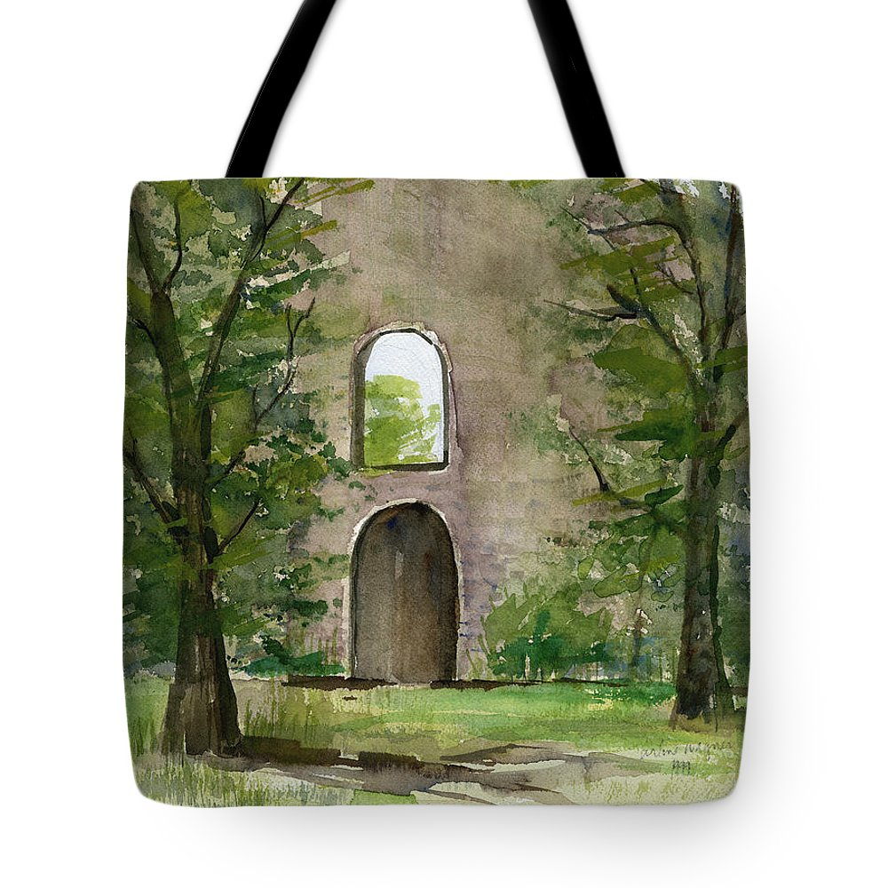 Mission Tote Bag featuring the painting Mission Wall by Arline Wagner