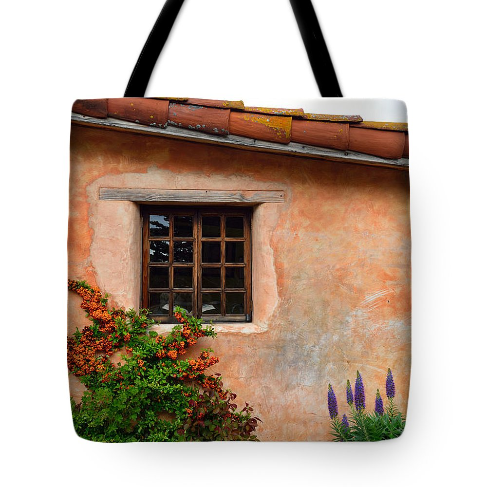 Carmel Mission Tote Bag featuring the photograph Mission Wall With Flowers by Kathy Yates