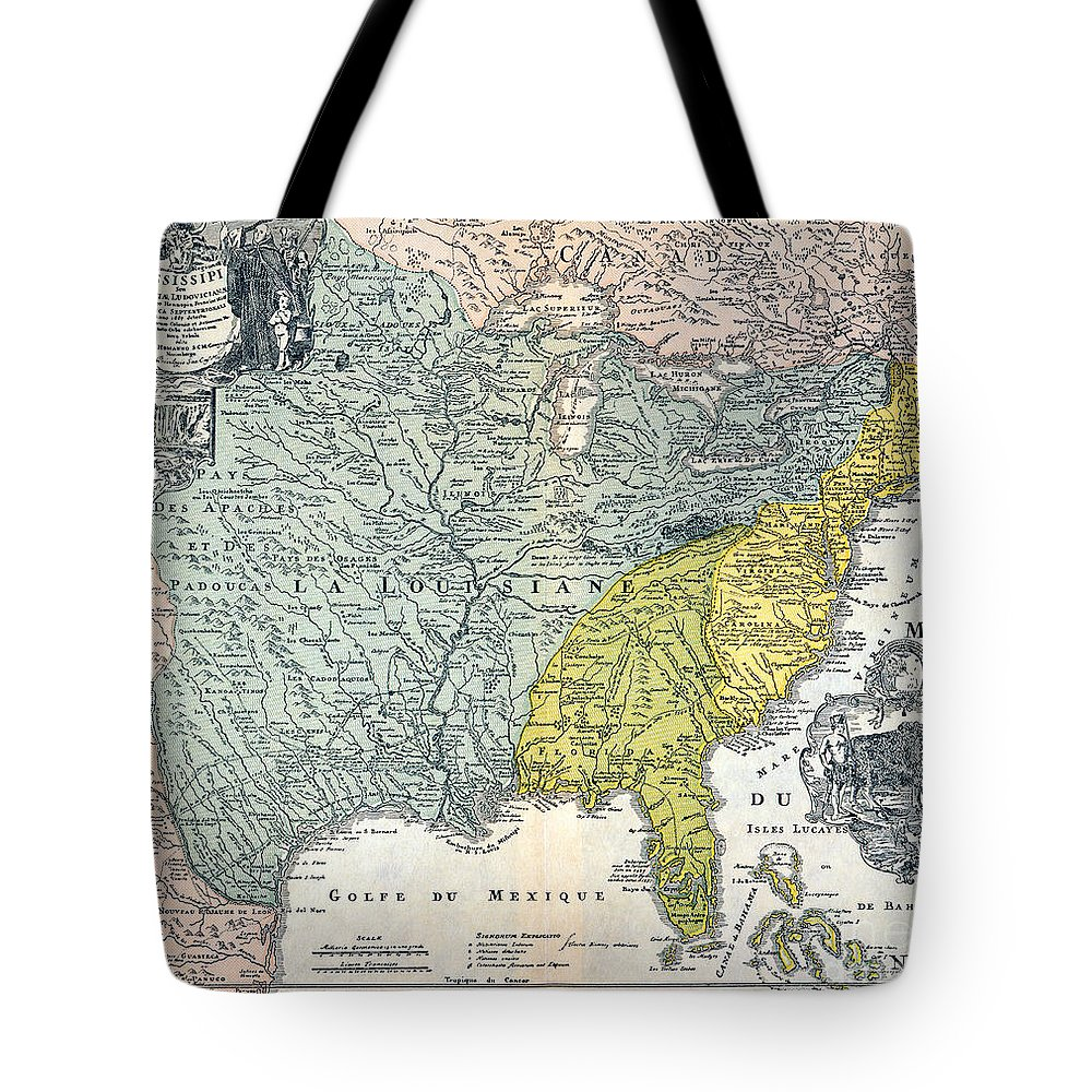 1687 Tote Bag featuring the photograph Mississippi Region, 1687 by Granger