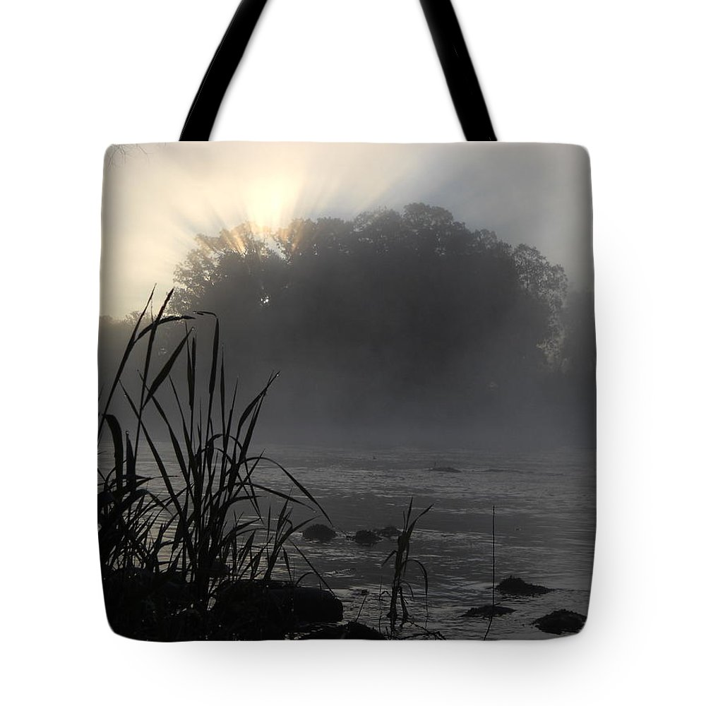 Mississippi River Tote Bag featuring the photograph Mississippi River Dawn Sun Rays by Kent Lorentzen