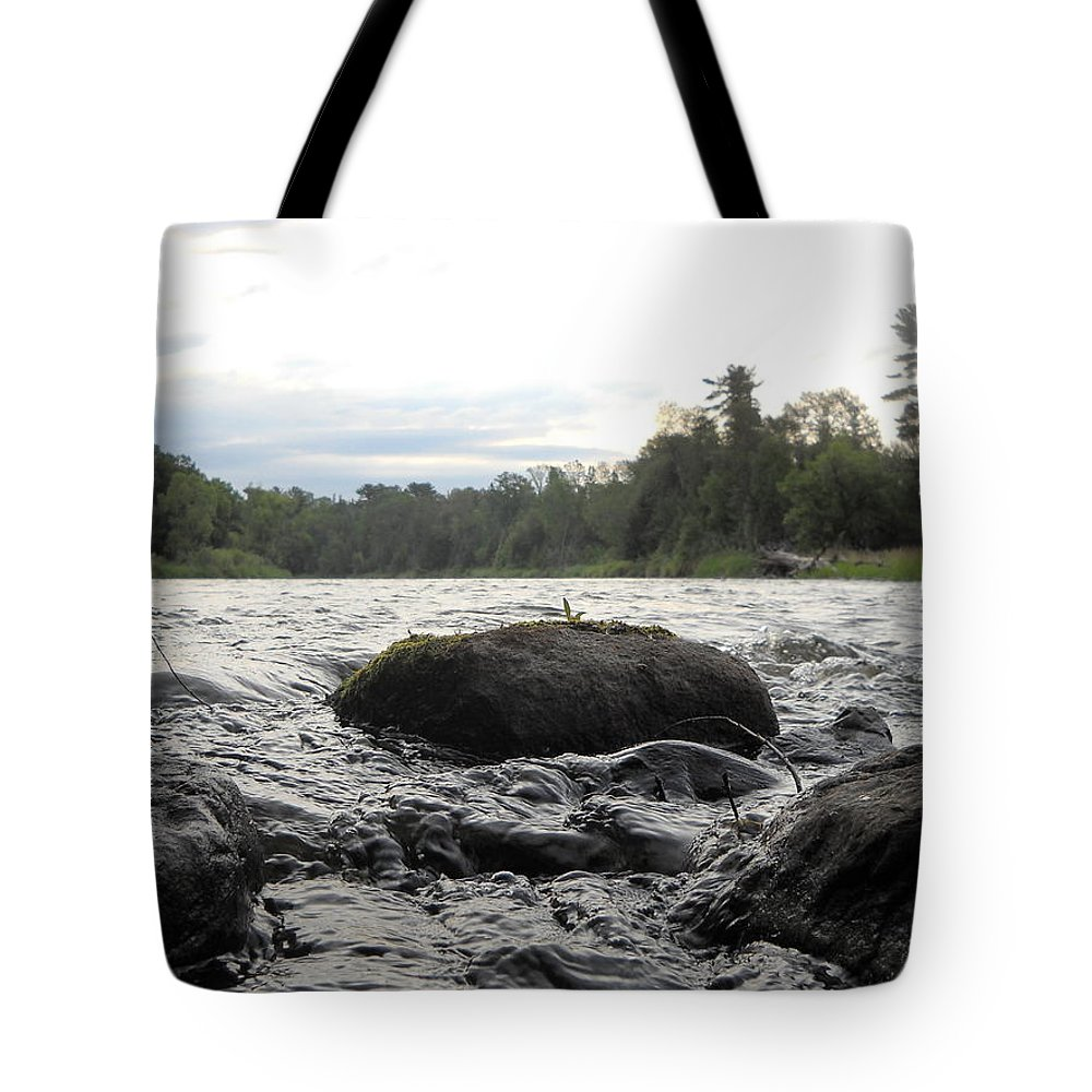 Mississippi River Tote Bag featuring the photograph Mississippi River Rocks At Dawn by Kent Lorentzen