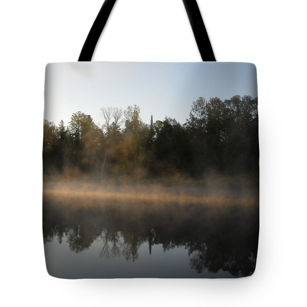 Mississippi River Tote Bag featuring the photograph Mississippi River Smooth Reflection by Kent Lorentzen