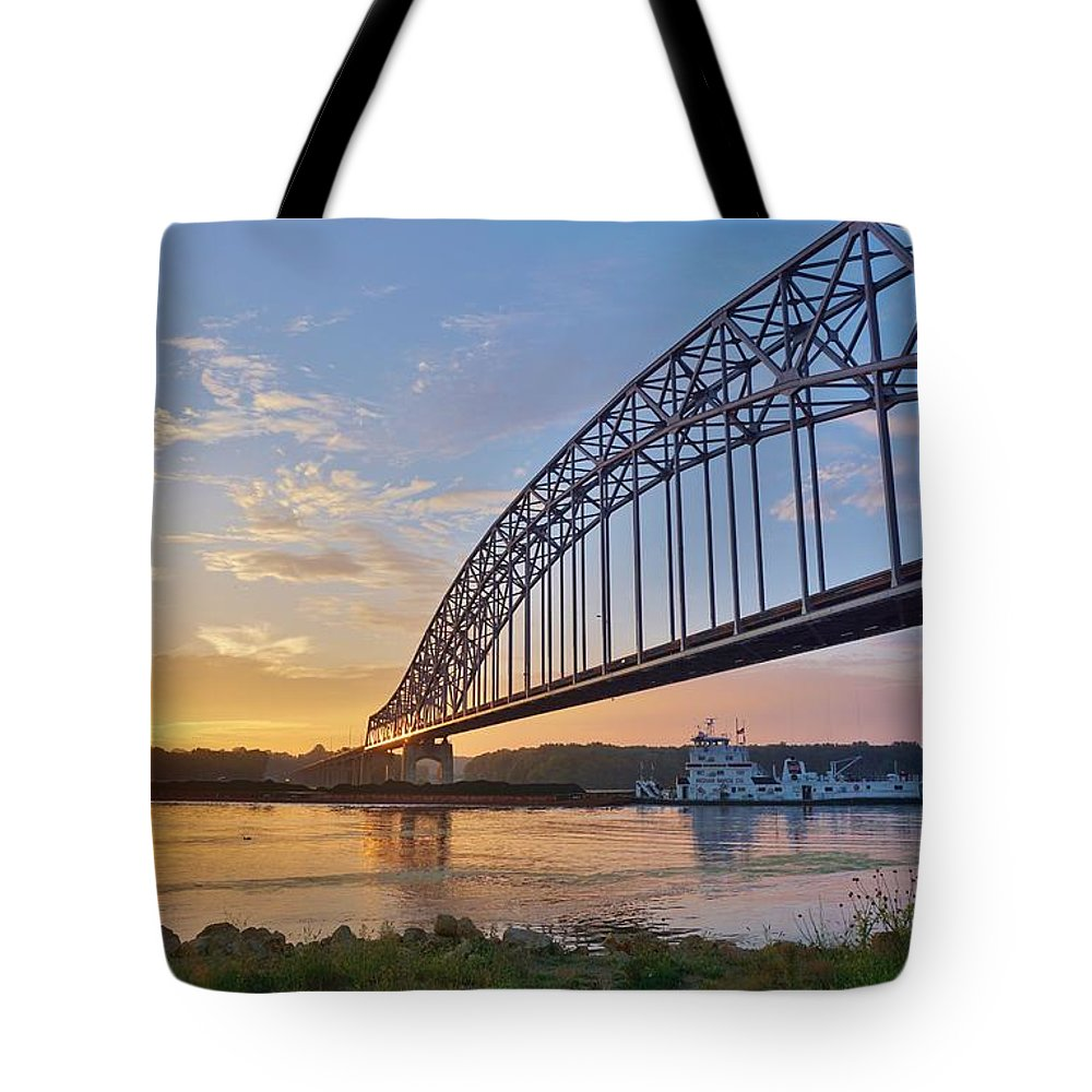 Mississippi Tote Bag featuring the photograph Mississippi Sunrise Crossing by Red Cross