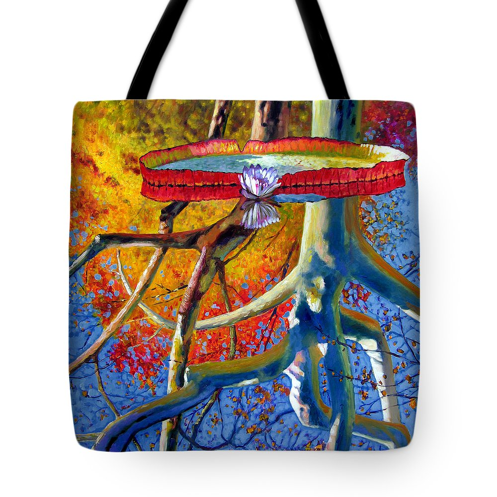 Garden Pond Tote Bag featuring the painting Missouri Sycamore Reflections by John Lautermilch