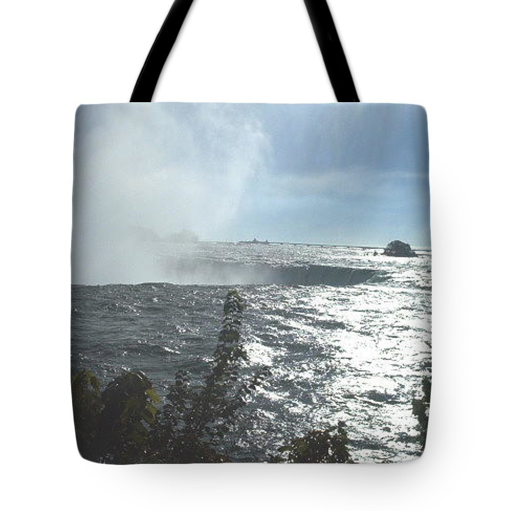 Landscape Tote Bag featuring the photograph Mist At The Falls by Debbie Levene