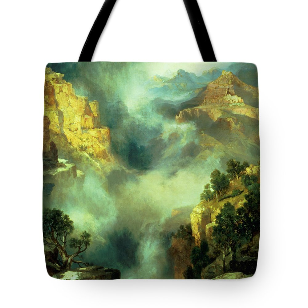 Thomas Tote Bag featuring the painting Mist In The Canyon by Thomas Moran