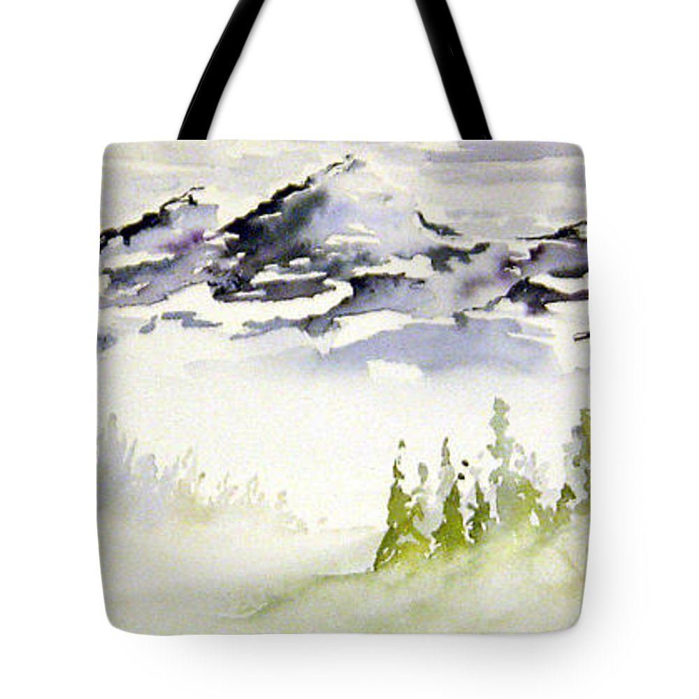 Rock Mountain Range Alberta Canada Tote Bag featuring the painting Mist In The Mountains by Joanne Smoley