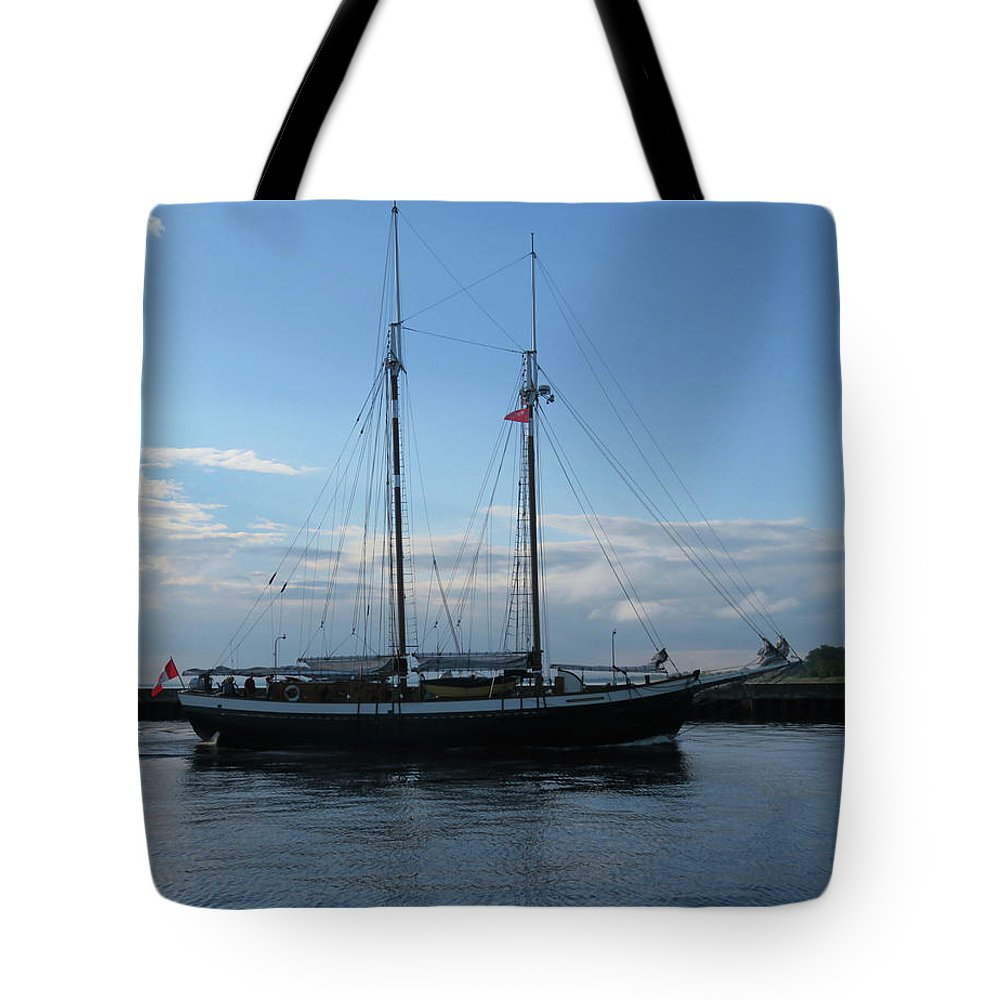 Tall Ships Tote Bag featuring the photograph Mist Of Avalon by Alison Gimpel