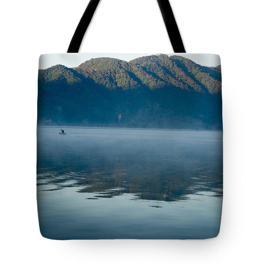 Volcano Tote Bag featuring the photograph Mist On Lake Atitlan Guatemala by Douglas Barnett