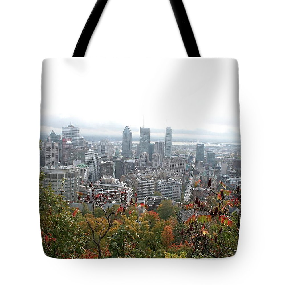 City View Tote Bag featuring the photograph Mist Over Montreal by Christiane Schulze Art And Photography