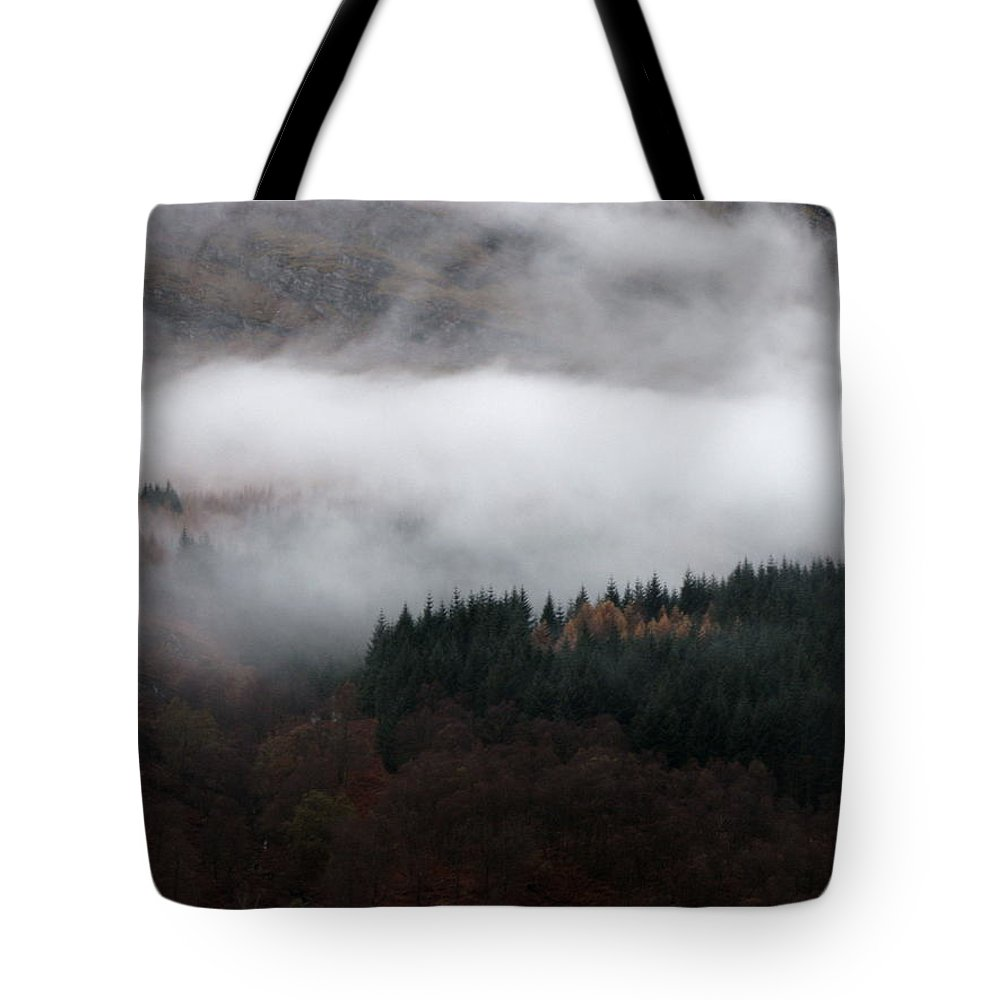 Scotland Tote Bag featuring the photograph Mist Rolling Down by Maria Joy