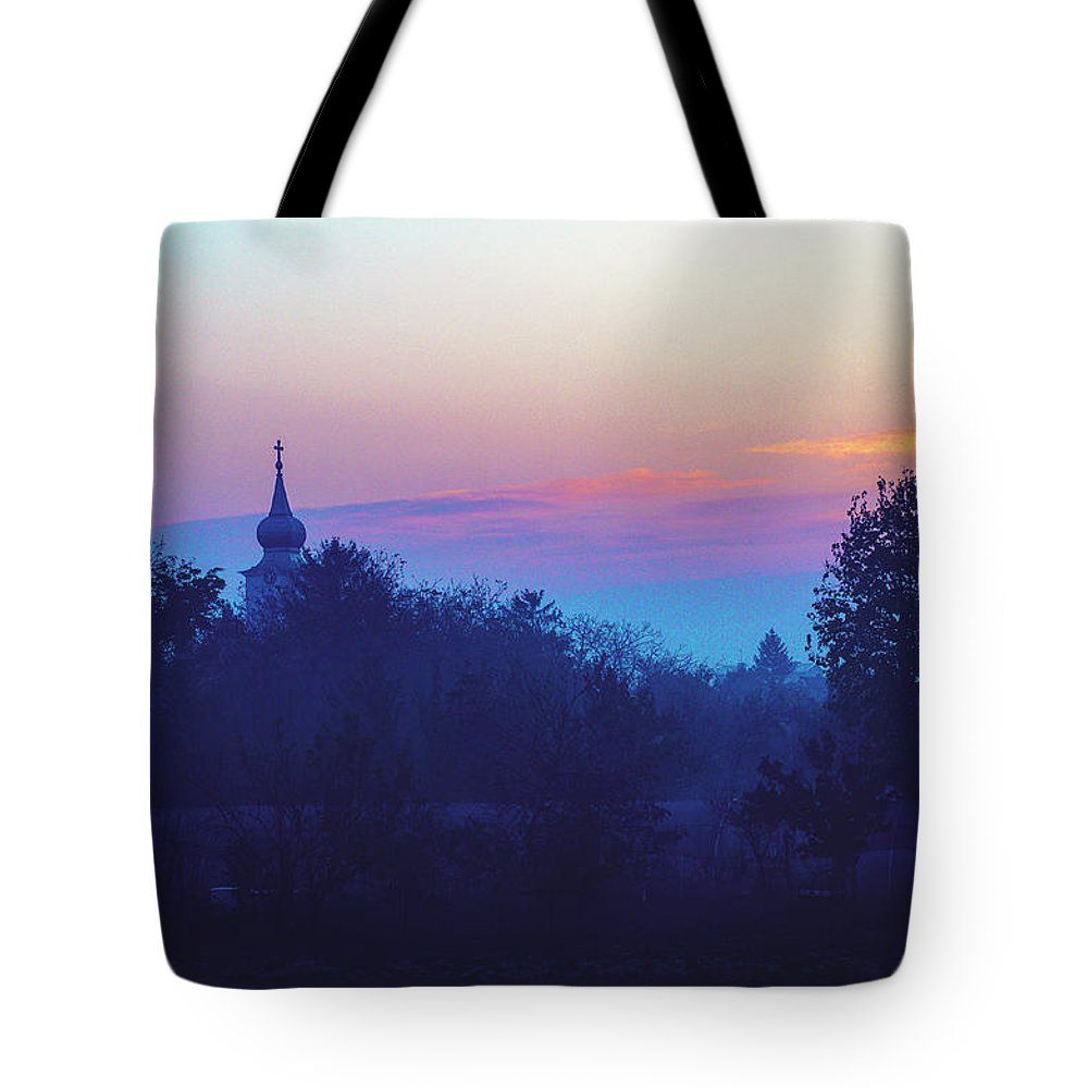 Abbey Tote Bag featuring the photograph Misty And Vibrant Winter Dawn Over Serbian Countryside by Srdjan Kirtic