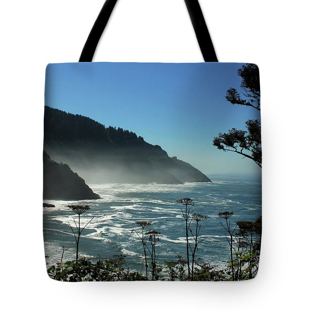 Ocean Tote Bag featuring the photograph Misty Coast At Heceta Head by James Eddy