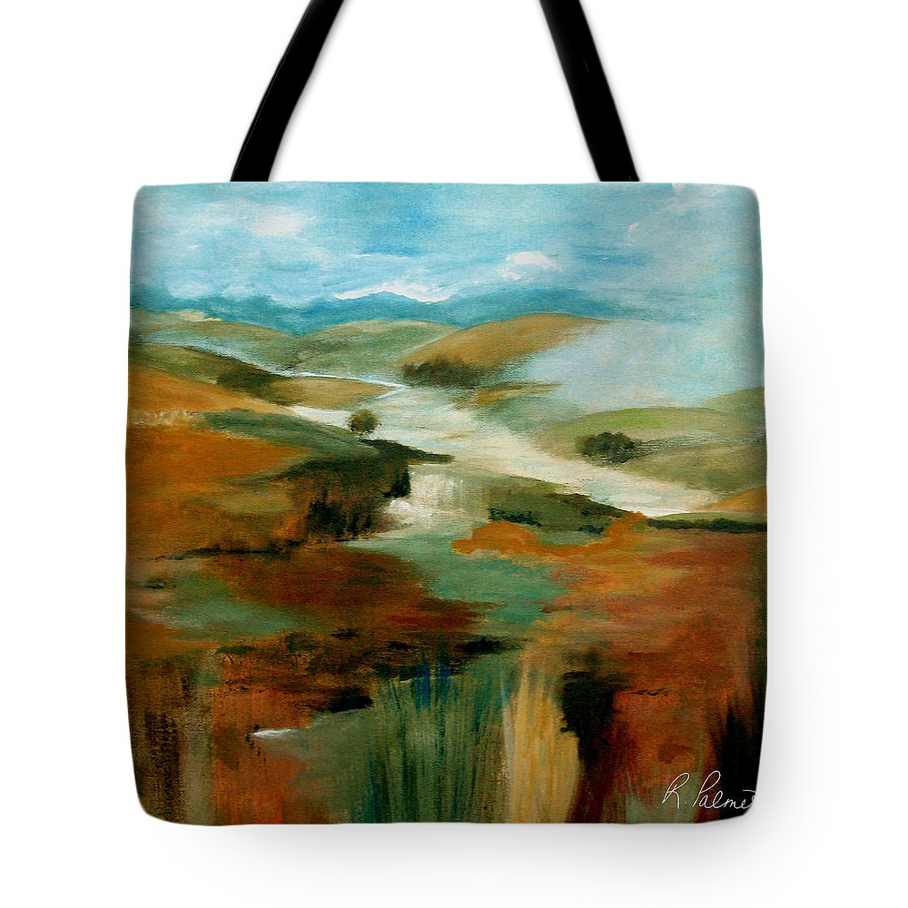 Abstract Tote Bag featuring the painting Misty Hills by Ruth Palmer