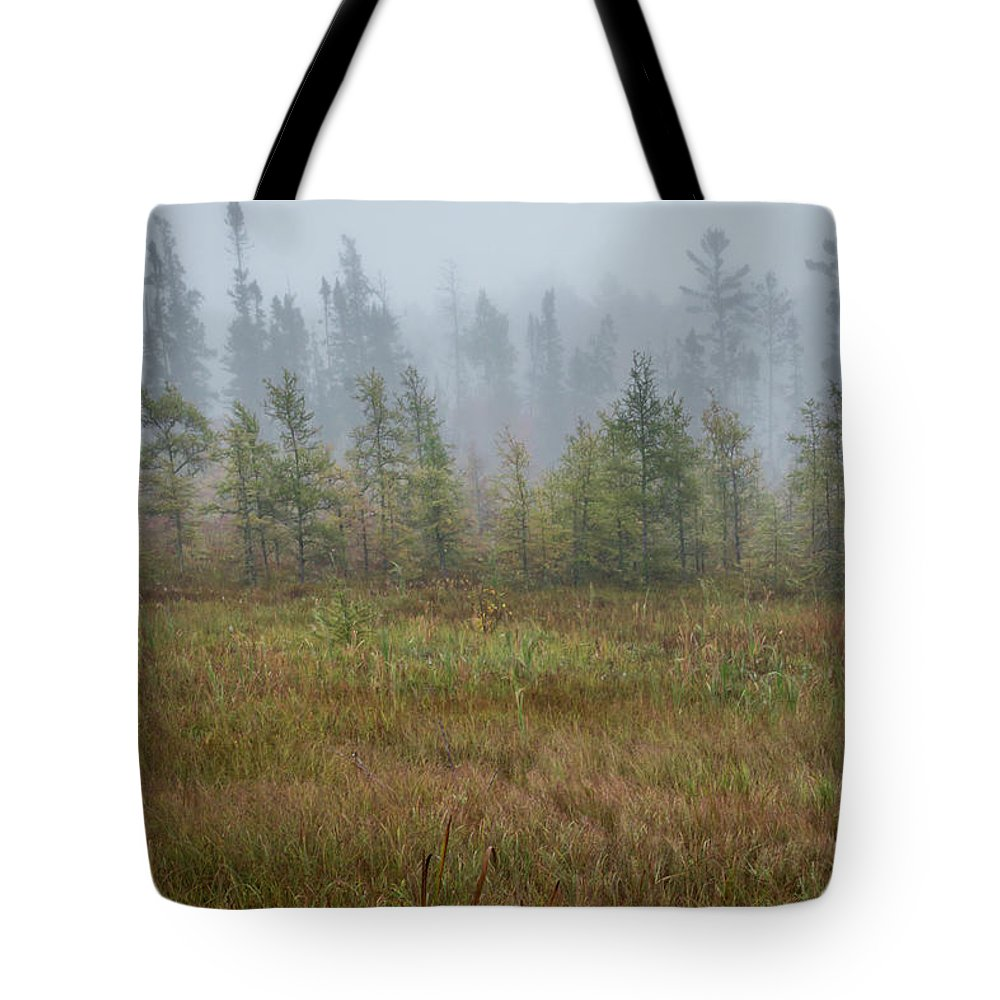 Trees Tote Bag featuring the photograph Misty Landscape by Patti Deters