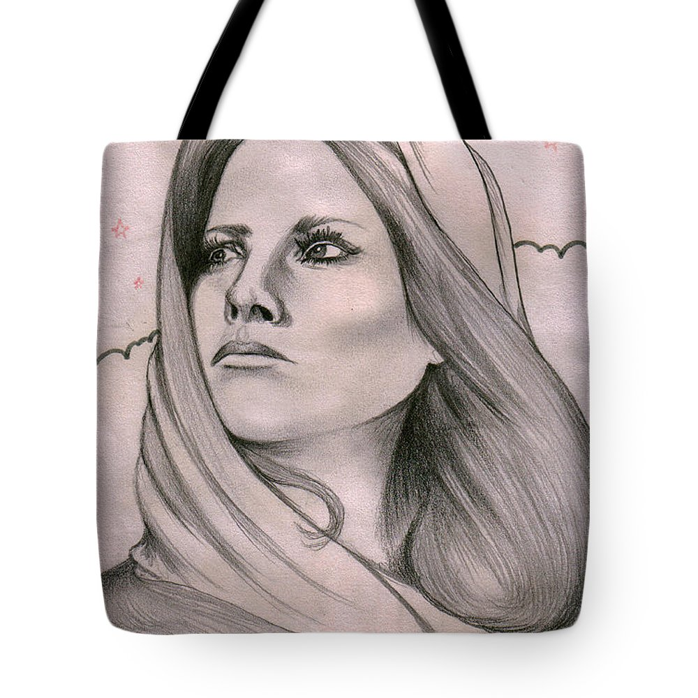 Portrait Tote Bag featuring the drawing Misty by Marco Morales