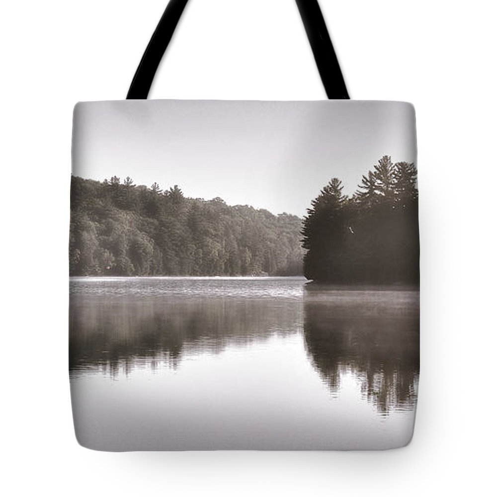 Lake Tote Bag featuring the photograph Misty Morning On Slipper Lake by Andrew Wilson