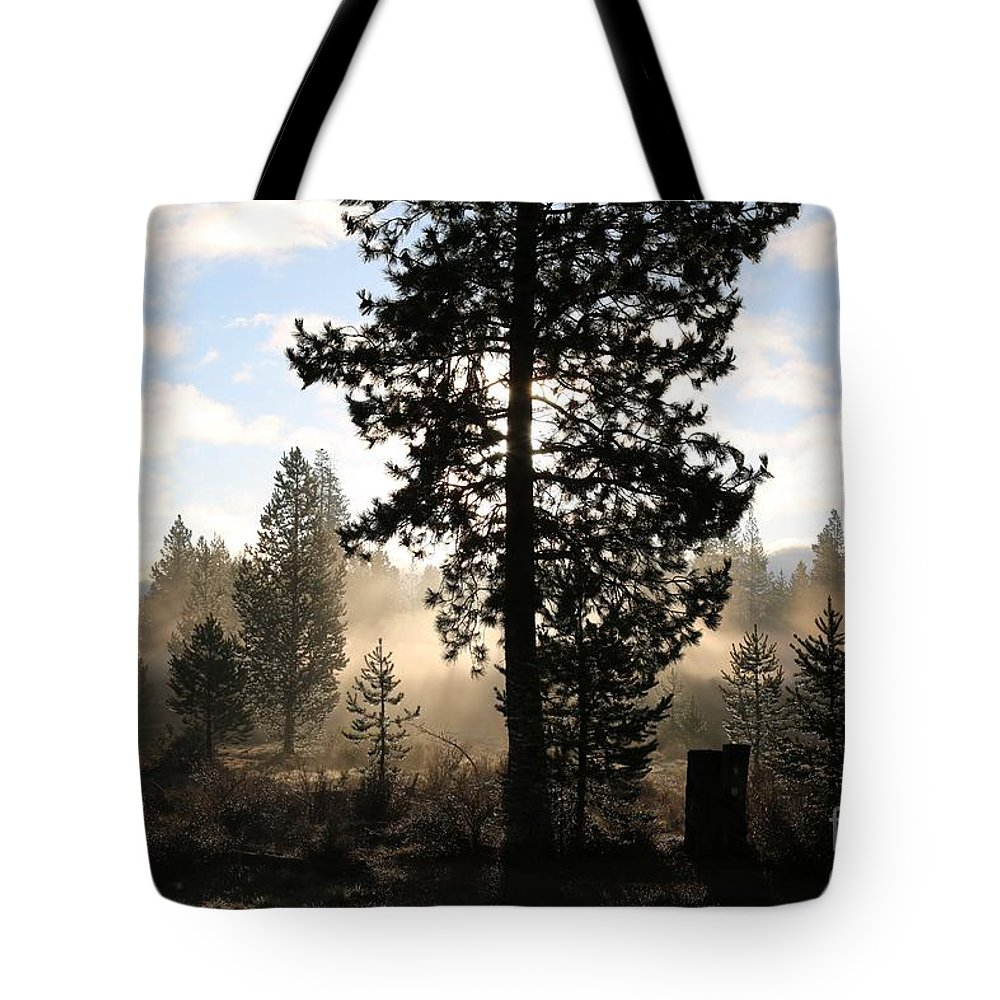 Mist Tote Bag featuring the photograph Misty Morning by Sandy Henderson