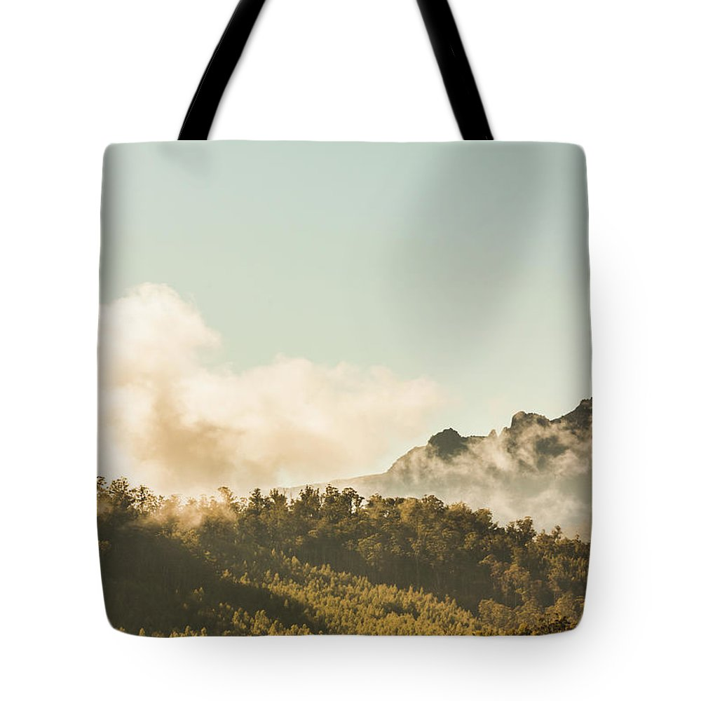 Forest Tote Bag featuring the photograph Misty Mountain Peaks by Jorgo Photography - Wall Art Gallery