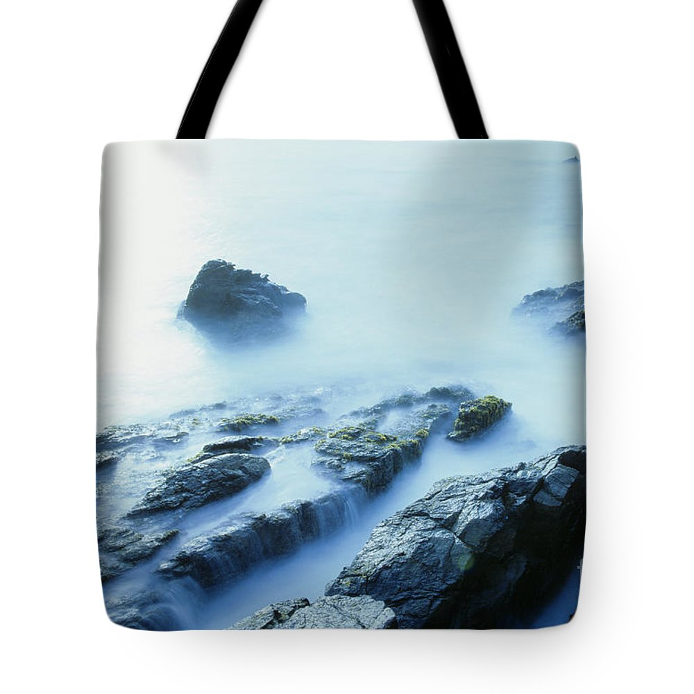 Abstract Tote Bag featuring the photograph Misty Ocean by Larry Dale Gordon - Printscapes