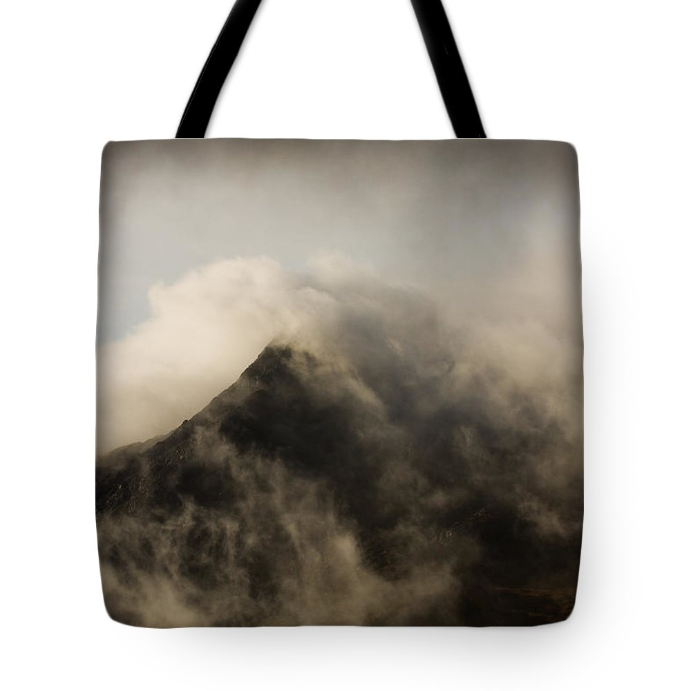 Scotland Tote Bag featuring the photograph Misty Peak by Colette Panaioti