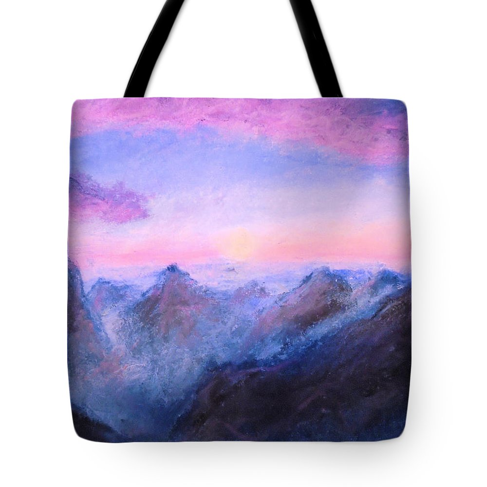 Mountains Tote Bag featuring the drawing Misty Sight by Jen Shearer
