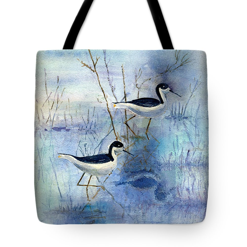 Bird Tote Bag featuring the painting Misty Swamp by Arline Wagner