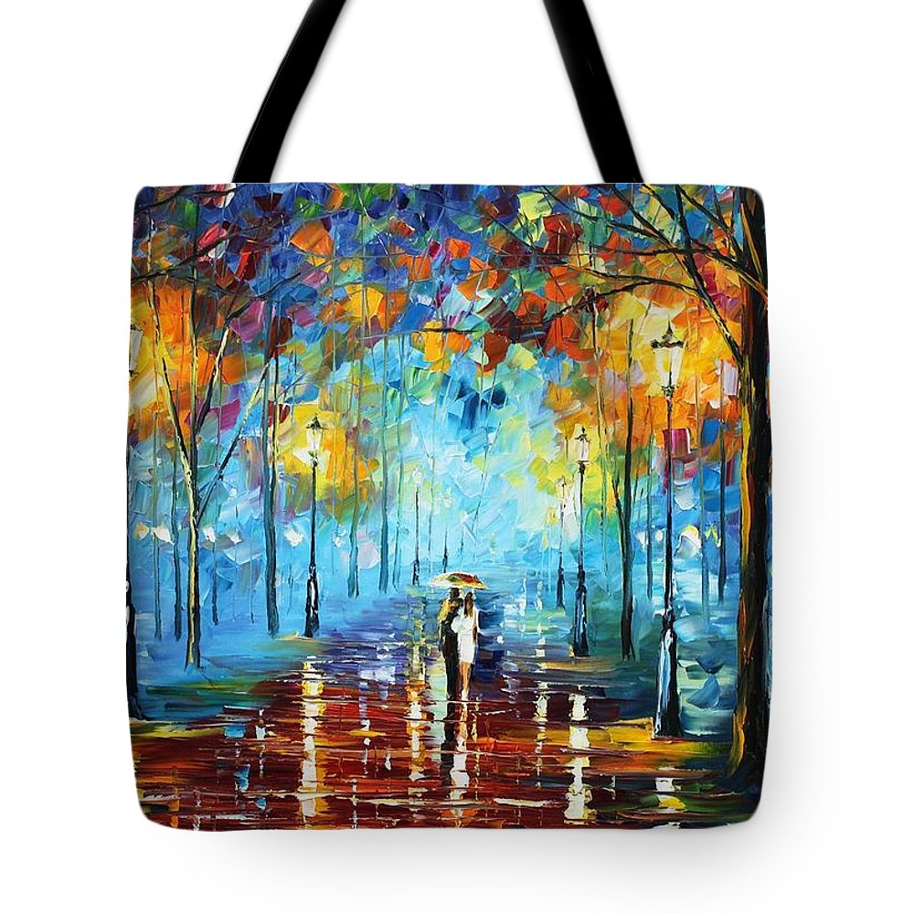 Afremov Tote Bag featuring the painting Misty Vibrations by Leonid Afremov