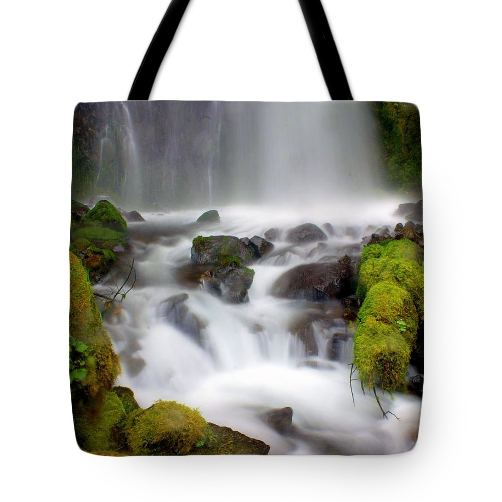 Waterfall Tote Bag featuring the photograph Misty Waters by Marty Koch