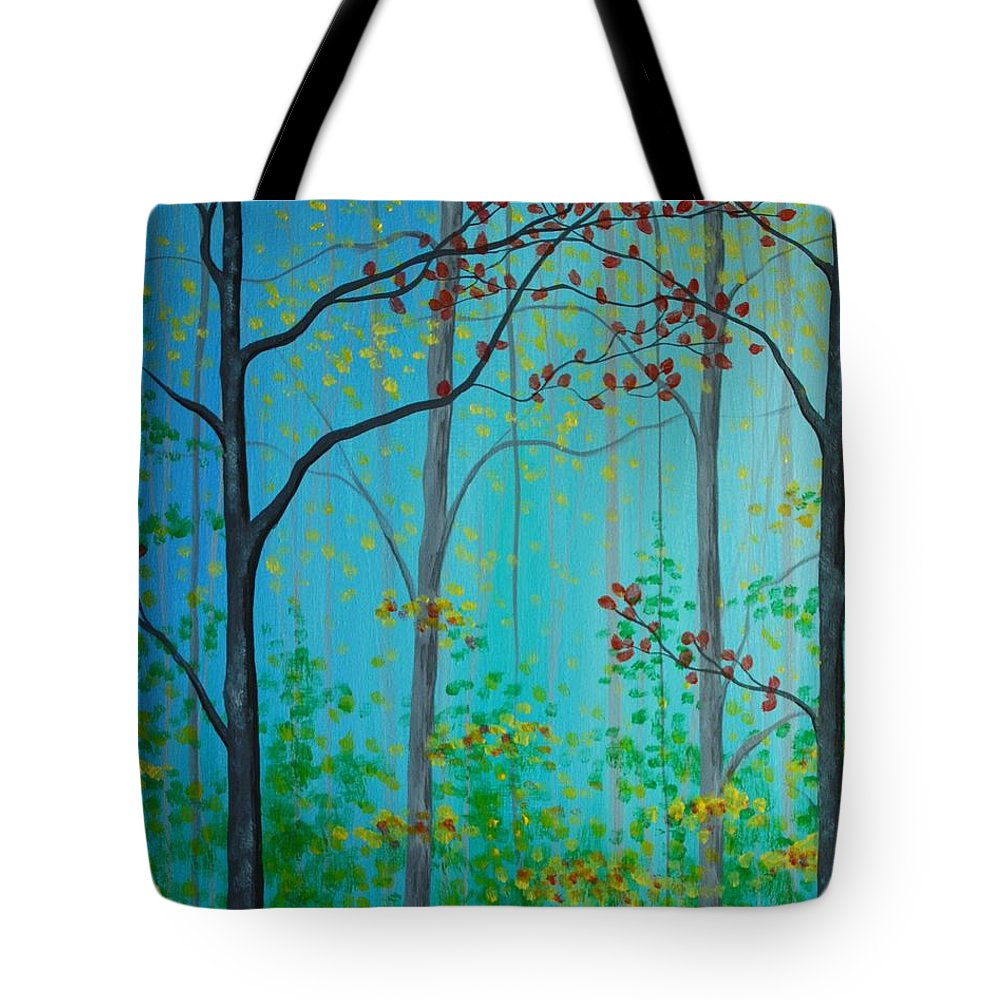 Mist Tote Bag featuring the painting Misty Woods by Emily Page