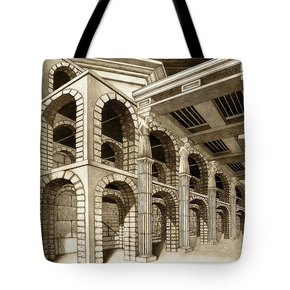 Mithlond Tote Bag featuring the drawing Mithlond Gray Havens by Curtiss Shaffer