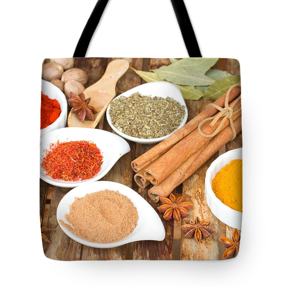 Anise Tote Bag featuring the photograph Mix Of Spices by Anastasy Yarmolovich