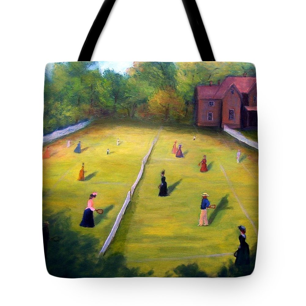 Tennis Art Tote Bag featuring the painting Mixed Doubles by Gail Kirtz