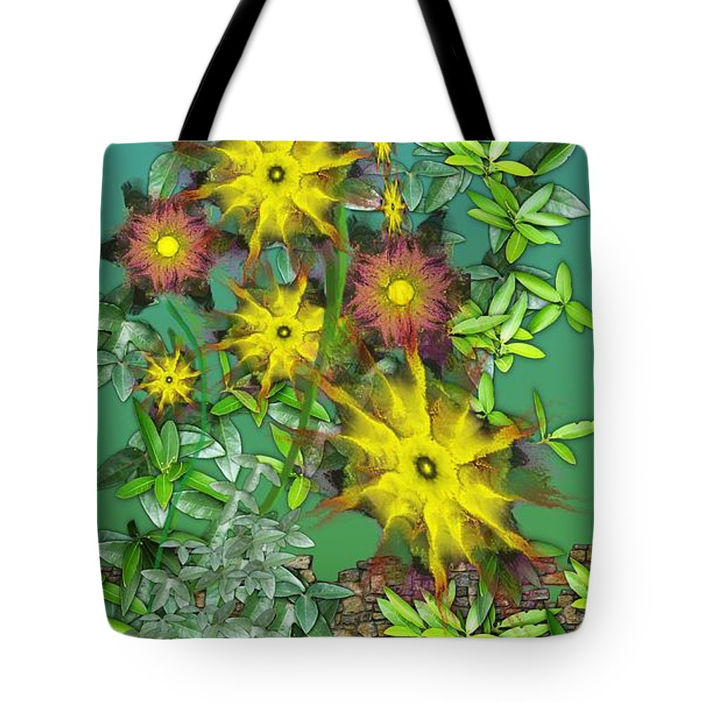 Flowers Tote Bag featuring the digital art Mixed Flowers by David Lane