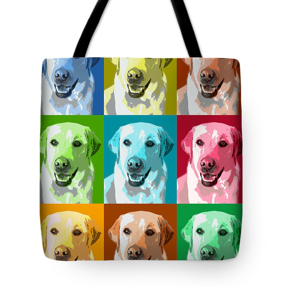 Americana Tote Bag featuring the photograph Golden Retriever Warhol by Marilyn Hunt