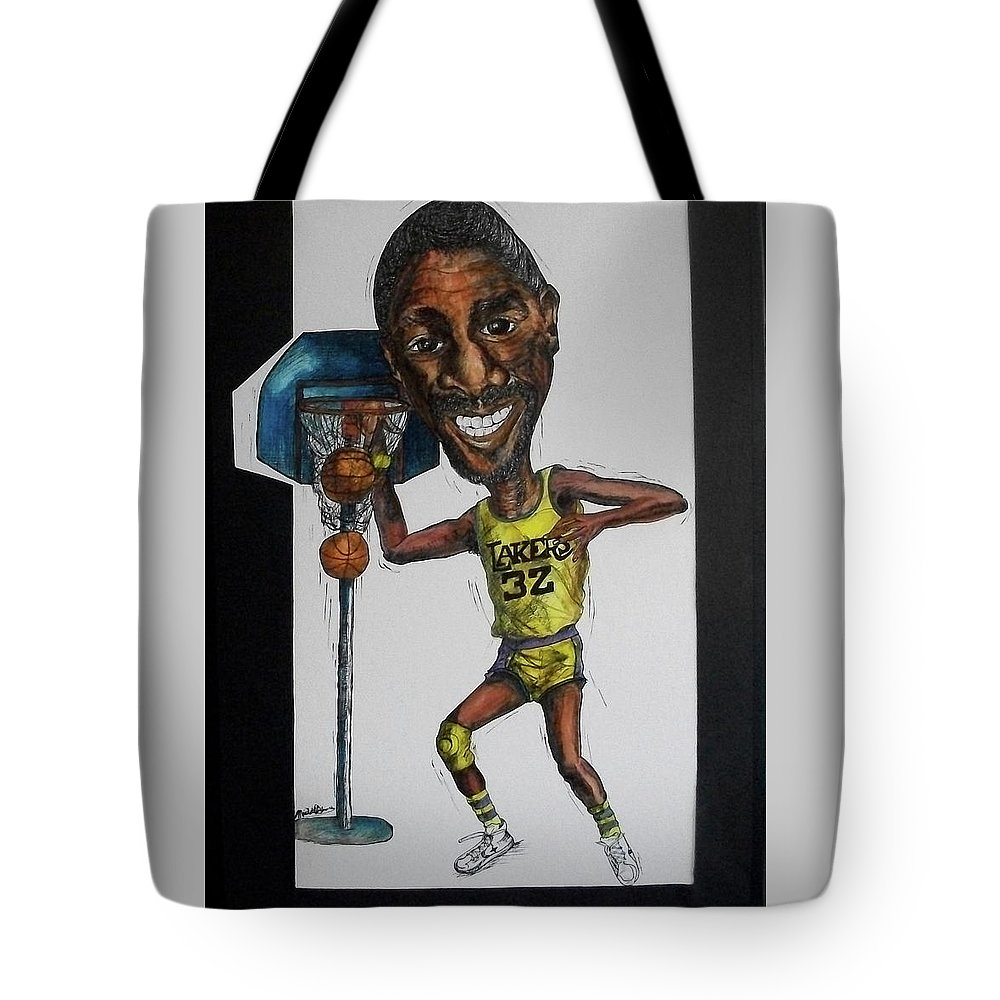 Magic Johnson Tote Bag featuring the mixed media Mj Caricature by Michelle Gilmore