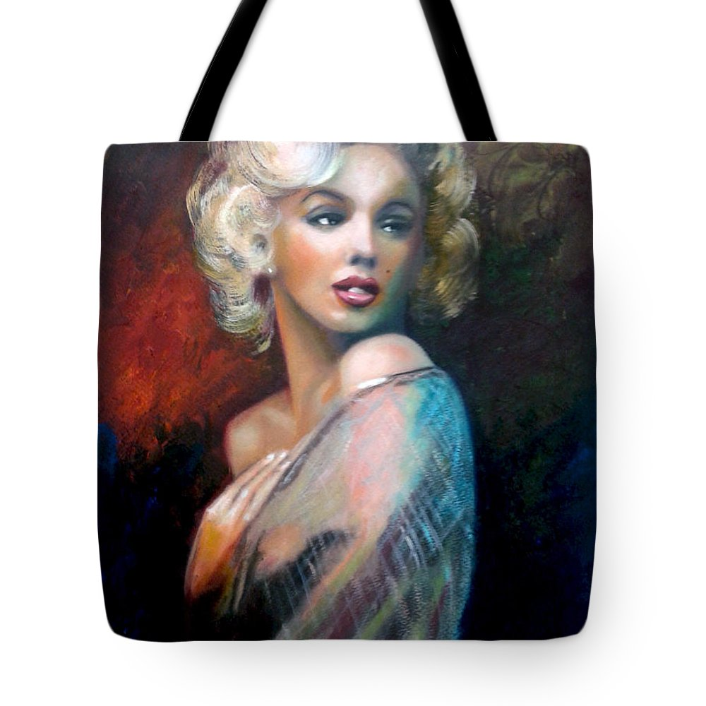 Monroe. Women. Tote Bag featuring the painting M.Monroe by Jose Manuel Abraham