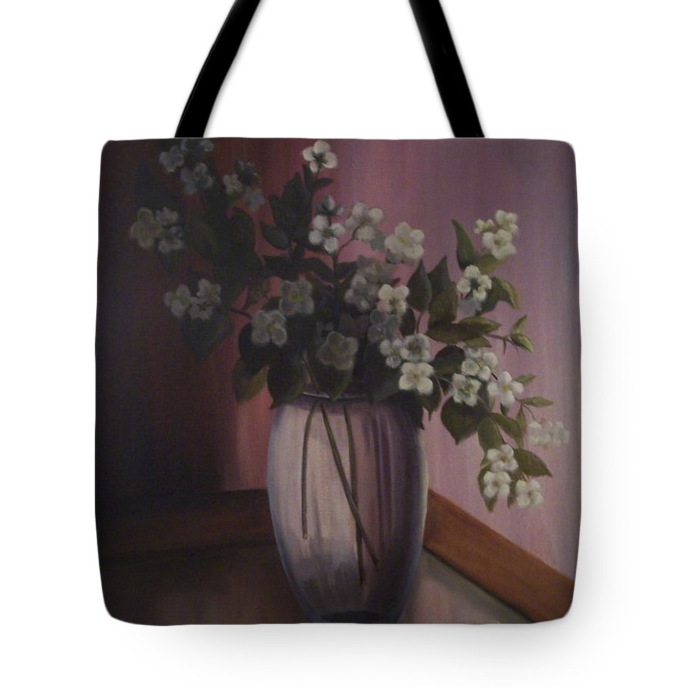 Still Life Tote Bag featuring the painting Mock Orange Blossoms by Marlene Book