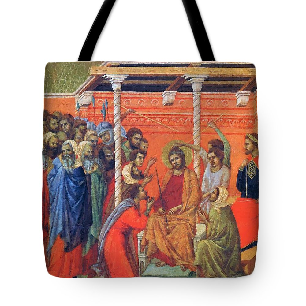 Mockery Tote Bag featuring the painting Mockery Of Christ 1311 by Duccio