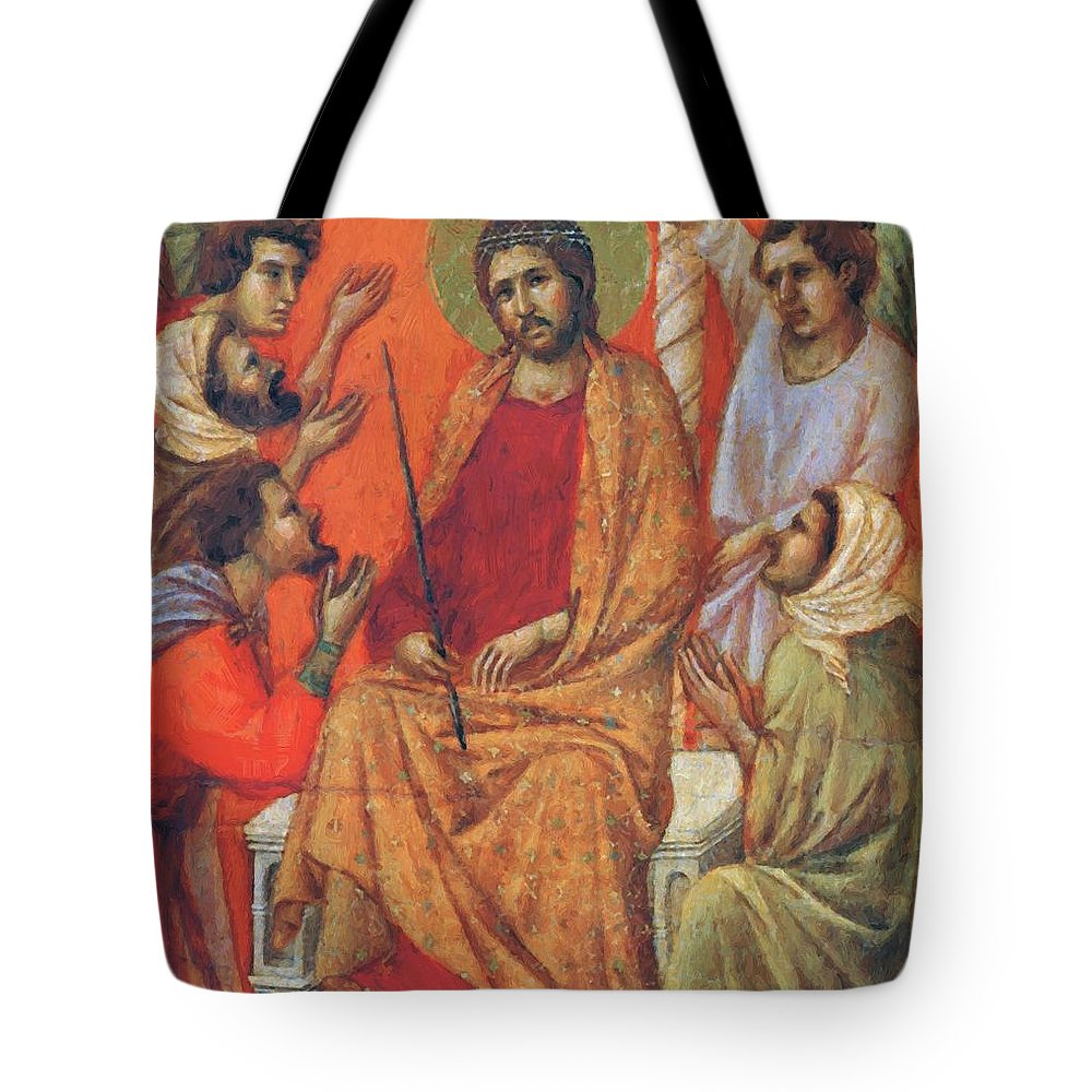 Mockery Tote Bag featuring the painting Mockery Of Christ Fragment 1311 by Duccio