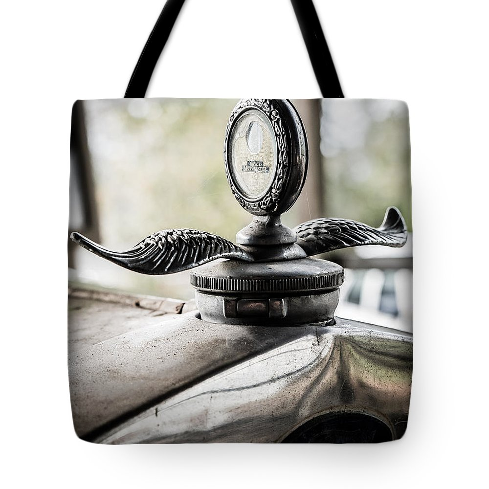 Model A Ford Tote Bag featuring the photograph Model A Ford Hood Ornament by Alicia Collins