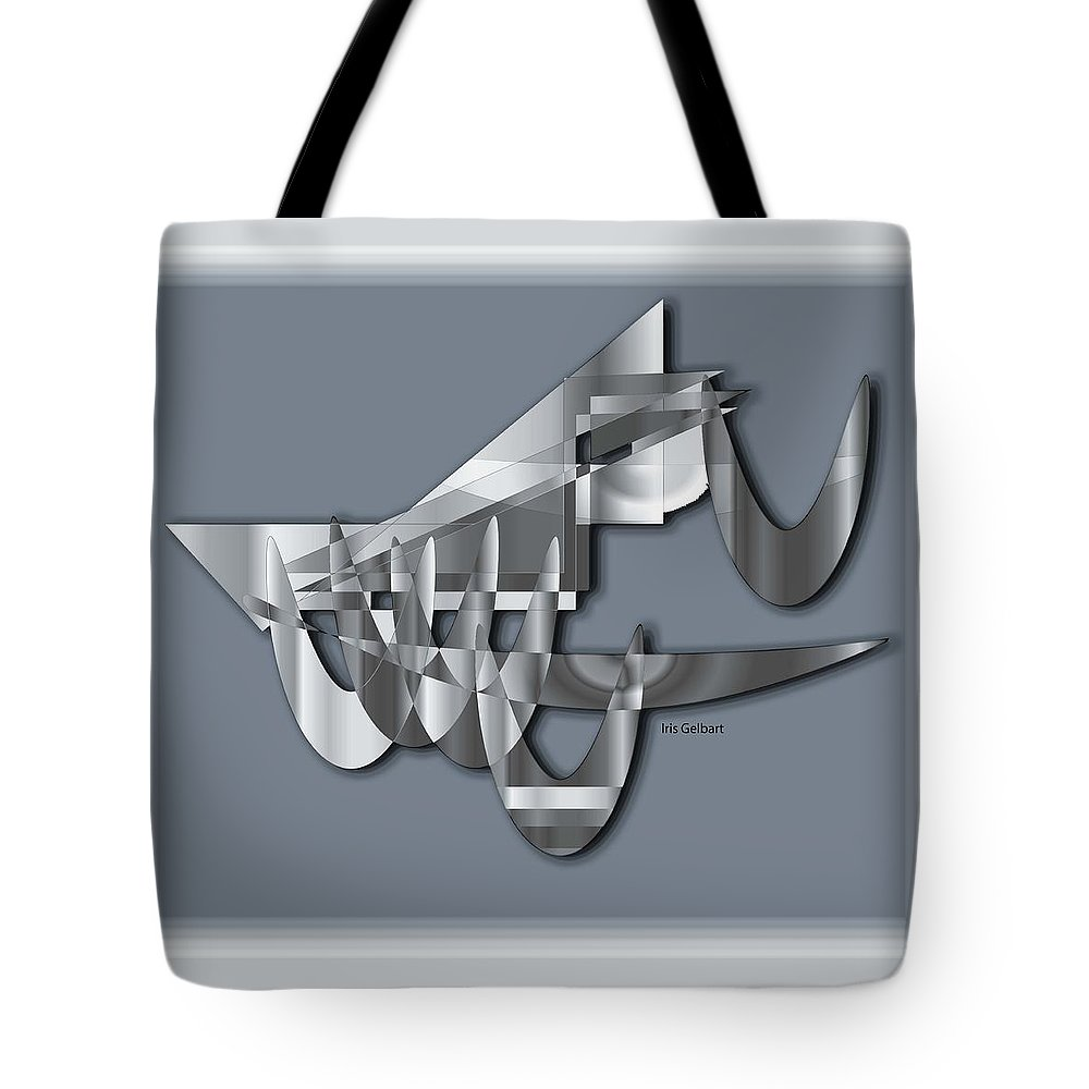 Abstract Tote Bag featuring the digital art Modern 1102 by Iris Gelbart