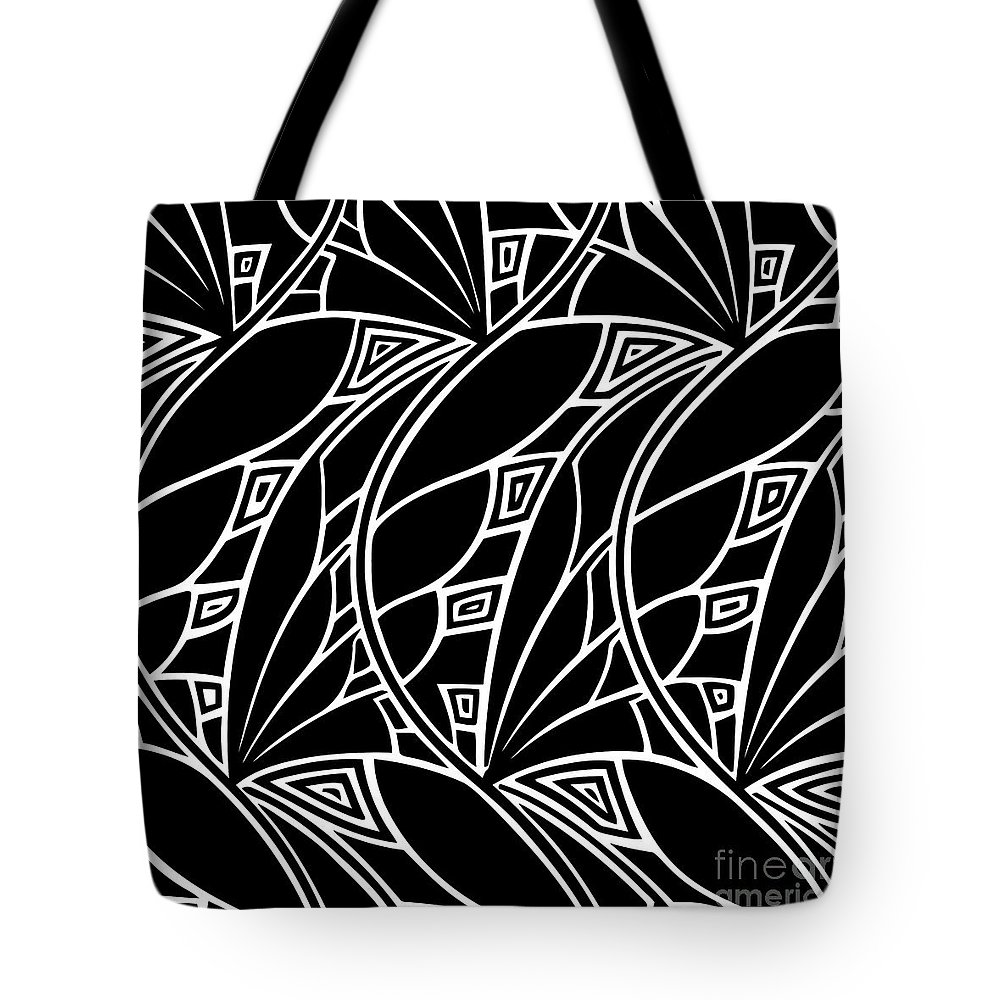 Abstract tote bag featuring the digital art modern art nouveau tessellations black and white by heidi