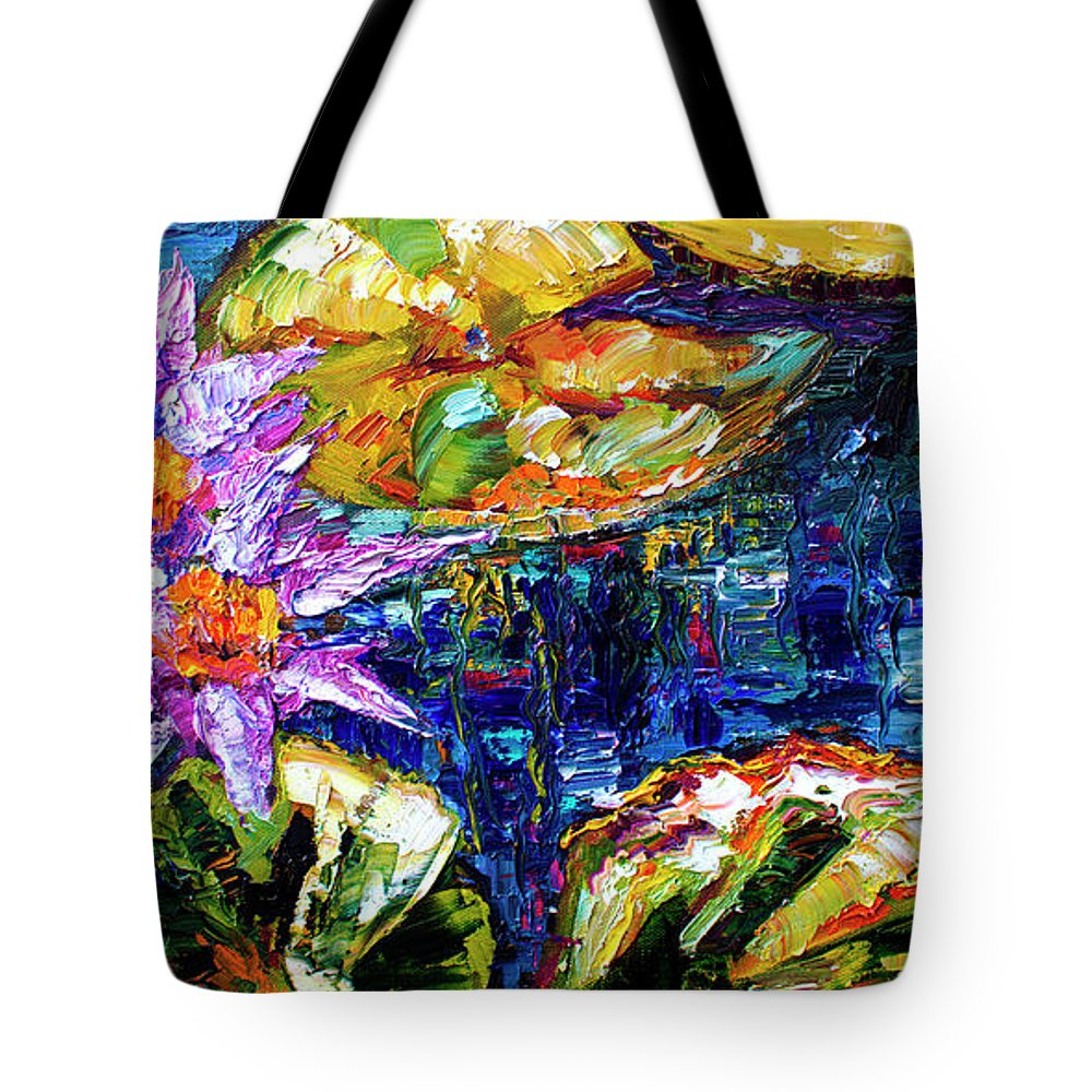 Impressionist Tote Bag featuring the painting Modern Impressionist Lily Pond Reflections by Ginette Callaway