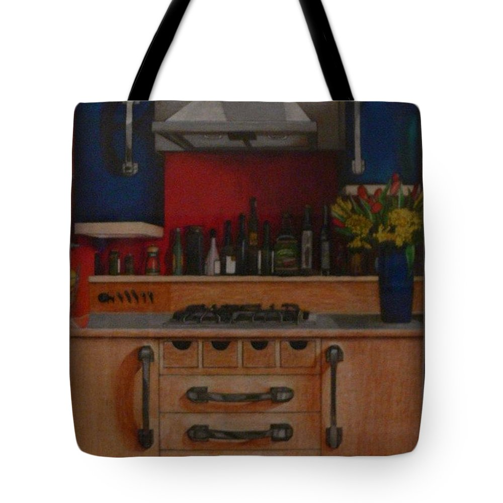 Kitchen Tote Bag featuring the drawing Modern Kitchen Red Blue And Steel by Serina Wells