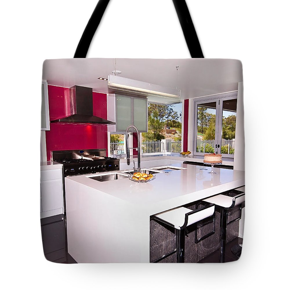 Red Tote Bag featuring the photograph Modern New Kitchen by Darren Burton