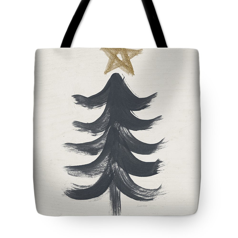 Contemporary Tote Bag featuring the painting Modern Primitive Black and Gold Tree 1- Art by Linda Woods by Linda Woods