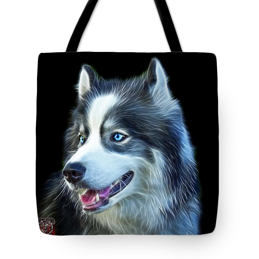Siberian Husky Tote Bag featuring the painting Modern Siberian Husky Dog Art - 6024 - Bb by James Ahn